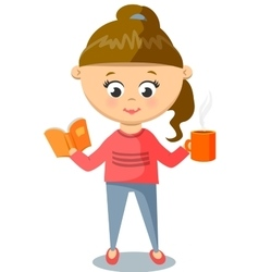 Girl in Pink Sweater Cute With Cup And Book vector