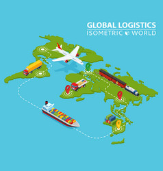 Global logistic isometric vehicle infographic vector