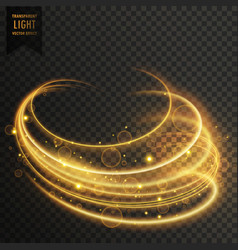 golden curvy transparent light effect with vector image