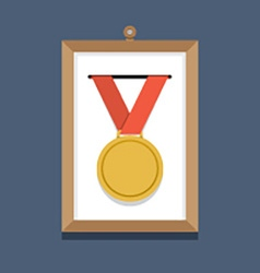 Golden Medal In A Picture Frame vector