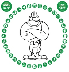Green circular Health and Safety Icon collection vector image