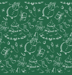 Green pattern with hand drawn christmas elements vector