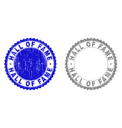 Grunge hall of fame textured stamp seals vector