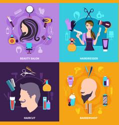 hairdresser concept set vector image