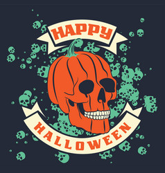 Halloween pumpkin skull vector