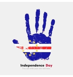 Handprint with the Flag of Cape Verde in grunge vector image
