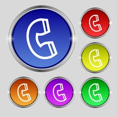 Handset icon sign Round symbol on bright colourful vector