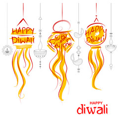 hanging kandil diwali holiday background for light vector image