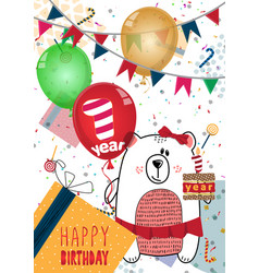 Happy birthday card design for one year old baby vector