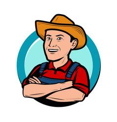 happy farmer in hat cartoon agriculture farm vector image