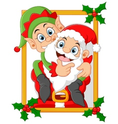 happy santa hold elf cartoon vector image