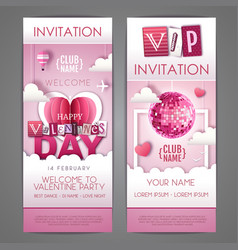 happy valentines day invitation design with love vector image