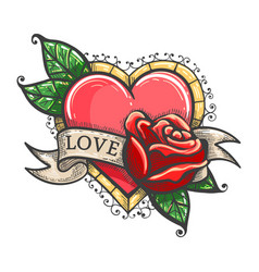 Heart and ribbon with wording love colorful tattoo vector
