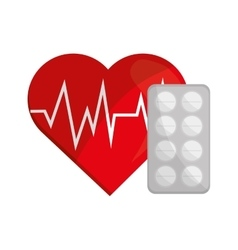 Heart cardiogram and medicine tablets icon vector
