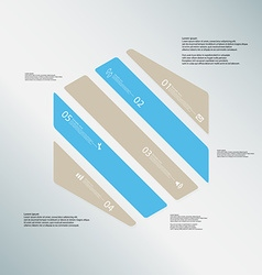 Hexagon template consists of five color parts on vector