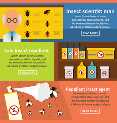 insect science banner horizonatal set flat style vector image