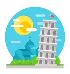 Leaning tower of Pisa flat design landmark vector image