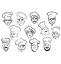Multiethnic chefs in toques in sketch style vector