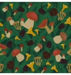 Mushrooms and Cones Seamless Pattern vector image
