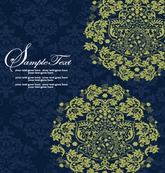 Navy and lime floral wedding invitations vector