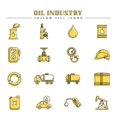 Oil industry and energy yellow fill icons vector image