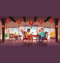People dining in asian restaurant or cafeteria vector
