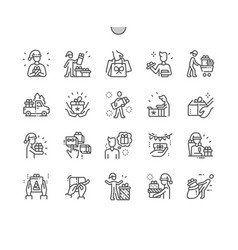 People with christmas gifts well-crafted pixel vector