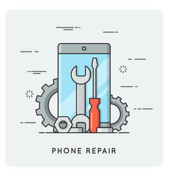 Phone repair flat thin line concept vector