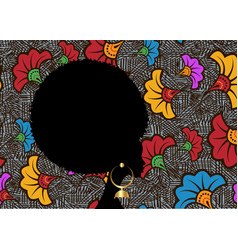 portrait african woman black curly afro hair vector image