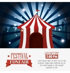 Poster tent festival funfair city background vector