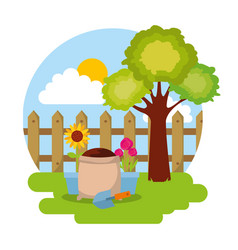 Potted flower sack soil and shovel fence tree vector