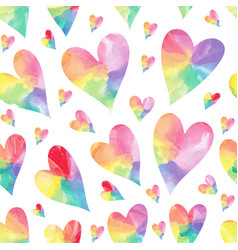 Rainbow hearts seamless patter vector