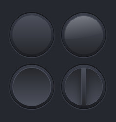 Round black plastic buttons on matted background vector