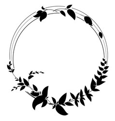 round frame with silhouettes of branches vector image