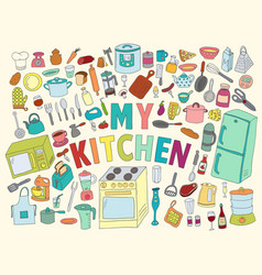 Set hand drawn icons kitchen vector