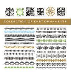Set of ethnic geometric signs and borders east vector