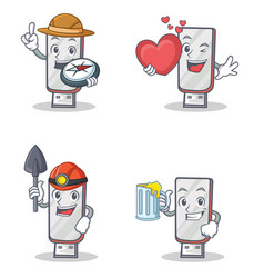 Set of flashdisk character with explorer heart vector