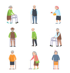 set old people in different poses with vector image