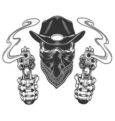 skull in cowboy hat and scarf vector image