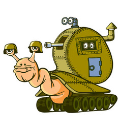 Snail armored on tracks vector