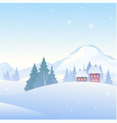 Snowy mountains background vector