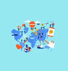 social world map diverse people in online apps vector image