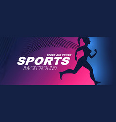 sport background with running girl silhouette vector image