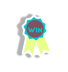 Stylish icon in paper sticker style medal winner vector