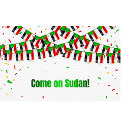 sudan garland flag with confetti on transparent vector image