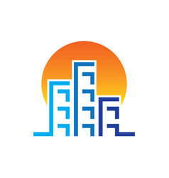 sunset skyscrapers building construction logo vector image