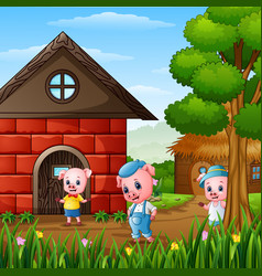 Three little pigs are playing outside house vector