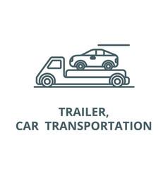 Trailertransportationcar line icon vector