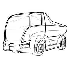truck sketch coloring book isolated object on vector image