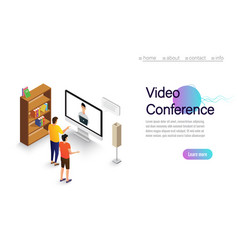 video conference landing people on computer vector image